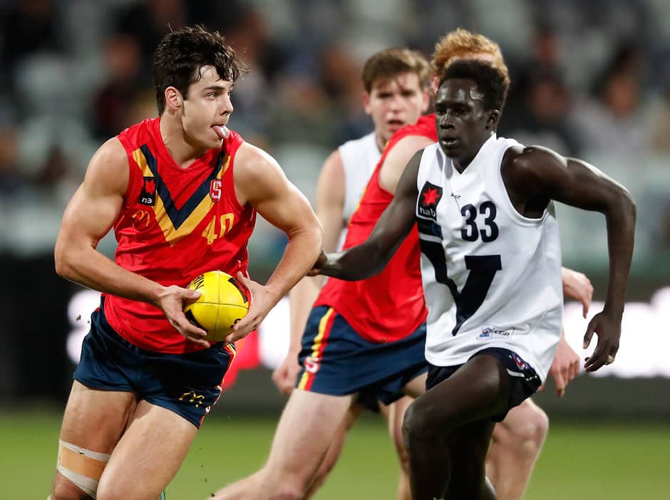 GEELONG, AUSTRALIA - JULY 05: Darcy Fogarty of South Australia in action during the 2017 AFL Under 18 Championships match between Vic Country and South Australia at Simonds Stadium on July 05, 2017 in Geelong, Australia. (Photo by Adam Trafford/AFL Media)