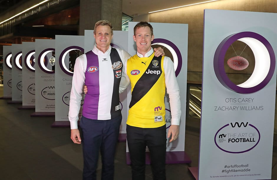 MELBOURNE, AUSTRALIA - JULY 05:  Nick Riewoldt and Jack Riewoldt pose during the 'Art of Football' exhibition on July 5, 2017 in Melbourne, Australia.  (Photo by Scott Barbour/Getty Images/AFL Media)