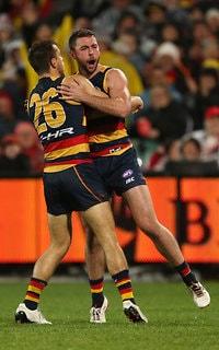 Rory Atkins celebrates a goal