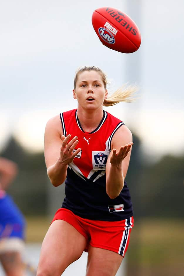 MELBOURNE, AUSTRALIA - JULY 08:  Katie Brennan of the Falcons marks the ball during the VFL Women's match between Cranbourne and Darebin at Casey Fields on July 8, 2017 in Melbourne, Australia.  (Photo by Daniel Pockett/AFL Media)