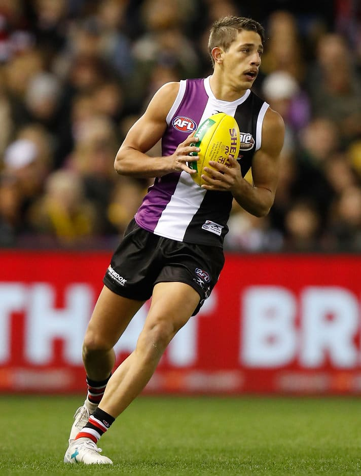 MELBOURNE, AUSTRALIA - JULY 08: Ben Long of the Saints in action during the 2017 AFL round 16 match between the St Kilda Saints and the Richmond Tigers at Etihad Stadium on July 08, 2017 in Melbourne, Australia. (Photo by Michael Willson/AFL Media)
