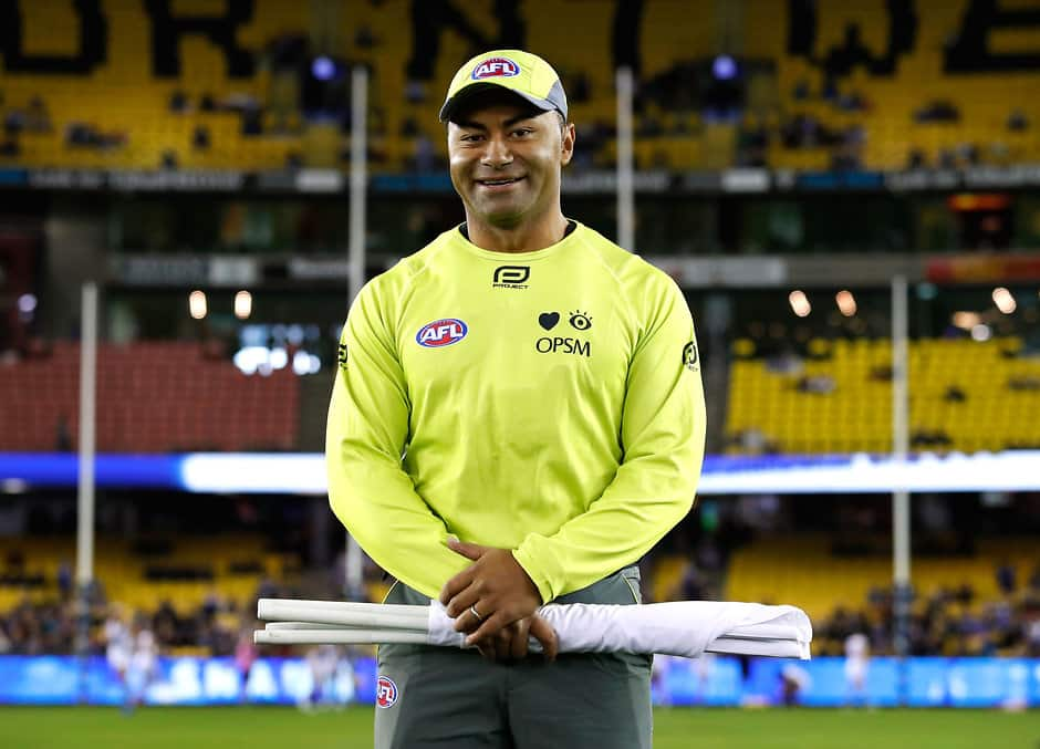 MELBOURNE, AUSTRALIA - JULY 09: Former AFL player David Rodan poses for a portrait before his first game as a goal umpire during the 2017 AFL round 16 match between the North Melbourne Kangaroos and the Fremantle Dockers at Etihad Stadium on July 09, 2017 in Melbourne, Australia. (Photo by Adam Trafford/AFL Media)