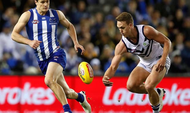 Usually a defender, Ryan Nyhuis kicked four goals on debut against North Melbourne in round 16.