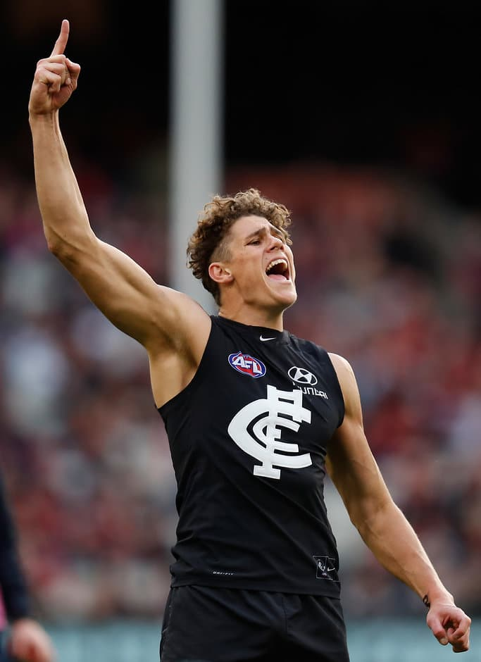 MELBOURNE, AUSTRALIA - JULY 09: Charlie Curnow of the Blues celebrates during the 2017 AFL round 16 match between the Carlton Blues and the Melbourne Demons at the Melbourne Cricket Ground on July 09, 2017 in Melbourne, Australia. (Photo by Michael Willson/AFL Media)