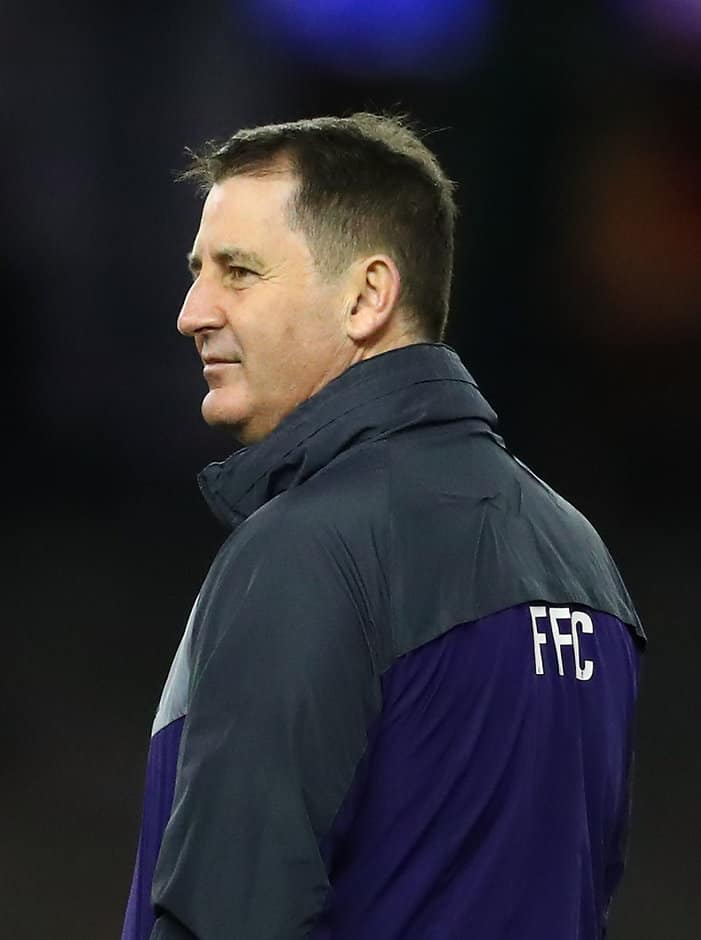 MELBOURNE, AUSTRALIA - JULY 09:  Ross Lyon, Senior Coach of the Dockers looks on during the round 16 AFL match between the North Melbourne Kangaroos and the Fremantle Dockers at Etihad Stadium on July 9, 2017 in Melbourne, Australia.  (Photo by Scott Barbour/Getty Images/AFL Media)