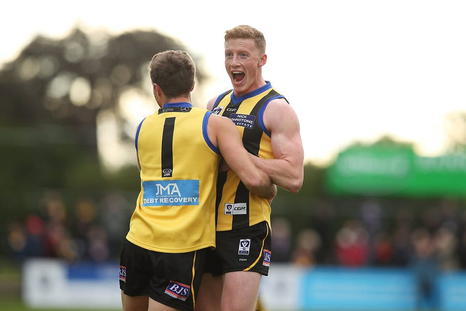 MELBOURNE, AUSTRALIA - JULY 09:  Ray Connellan of Sandringham (R) celebrates kicking a goal during the round 12 VFL match between Sandringham and Footscray at Trevor Barker Beach Oval on July 9, 2017 in Melbourne, Australia.  (Photo by Graham Denholm/AFL Media)