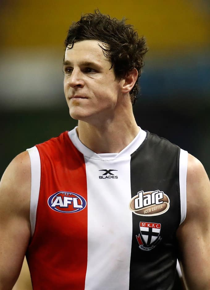MELBOURNE, AUSTRALIA - JULY 14: Jake Carlisle of the Saints looks dejected after a loss during the 2017 AFL round 17 match between the St Kilda Saints and the Essendon Bombers at Etihad Stadium on July 14, 2017 in Melbourne, Australia. (Photo by Michael Willson/AFL Media)