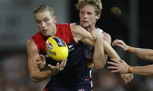 Bernie VInce is under report following Melbourne's loss to Adelaide on Saturday [pic: AFL]