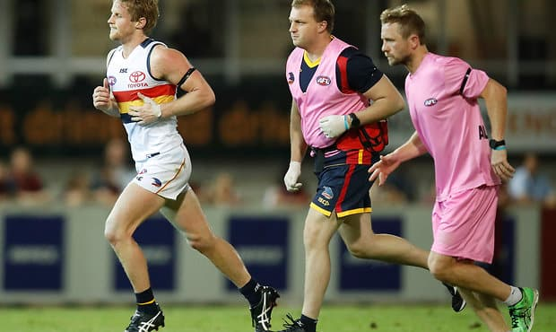 DARWIN, AUSTRALIA - JULY 15: Rory Sloane of the Crows leaves the field during the 2017 AFL round 17 match between the Melbourne Demons and the Adelaide Crows at TIO Stadium on July 15, 2017 in Darwin, Australia. (Photo by Michael Willson/AFL Media)