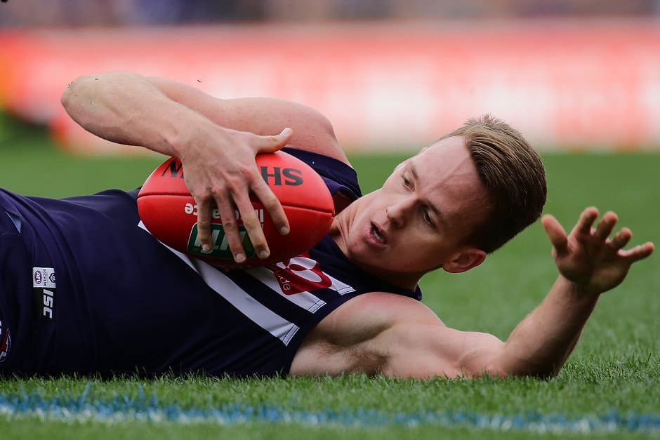 Ryan Nyhuis played eight games for Fremantle in 2018, averaging 11.9 disposals - AFL,Fremantle Dockers,Michael Apeness,Ethan Hughes,Ryan Nyhuis,Contracts