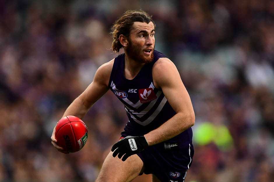 PERTH, AUSTRALIA - JULY 16: Connor Blakely of the Dockers in action during the 2017 AFL round 17 match between the Fremantle Dockers and the West Coast Eagles at Domain Stadium on July 16, 2017 in Perth, Australia. (Photo by Daniel Carson/AFL Media)
