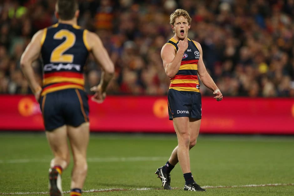 ADELAIDE, AUSTRALIA - JULY 21: Rory Sloane of the Crows celebrates a goal during the 2017 AFL round 18 match between the Adelaide Crows and the Geelong Cats at the Adelaide Oval on July 21, 2017 in Adelaide, Australia. (Photo by James Elsby/AFL Media)