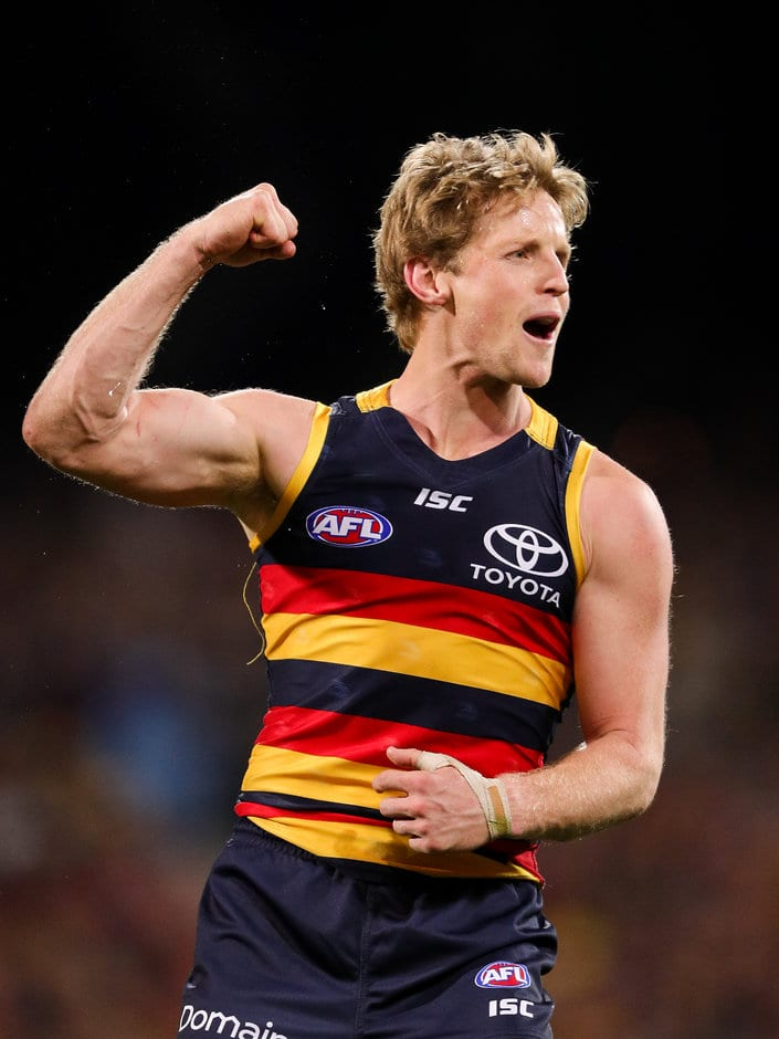 ADELAIDE, AUSTRALIA - JULY 21: Rory Sloane of the Crows celebrates a goal during the 2017 AFL round 18 match between the Adelaide Crows and the Geelong Cats at the Adelaide Oval on July 21, 2017 in Adelaide, Australia. (Photo by AFL Media)