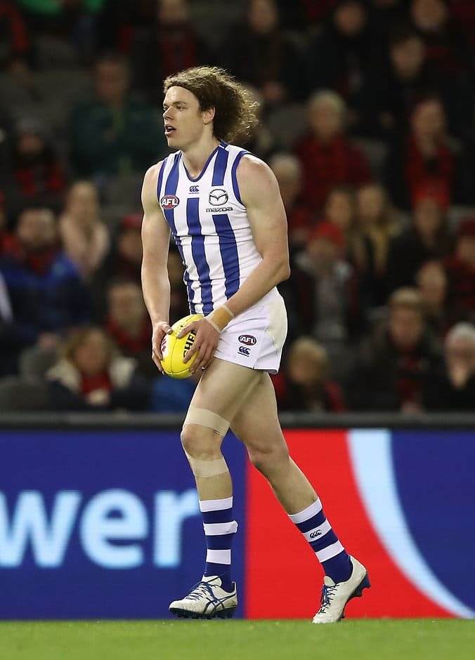 MELBOURNE, AUSTRALIA - JULY 22: Ben Brown of the Kangaroos lines up for a shot on goal during the round 18 AFL match between the Essendon Bombers and the North Melbourne Kangaroos at Etihad Stadium on July 22, 2017 in Melbourne, Australia.  (Photo by Robert Cianflone/Getty Images/AFL Media)