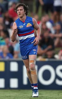 Liam Picken celebrates one of his six goals against the Suns