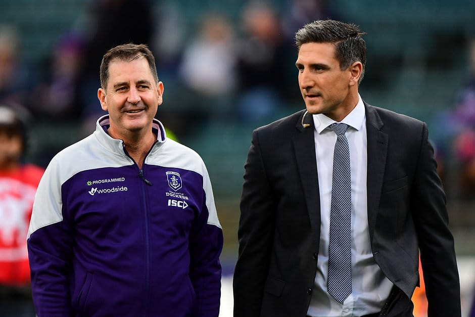 Fremantle coach Ross Lyon and club great Matthew Pavlich - AFL,Fremantle Dockers,Matthew Pavlich
