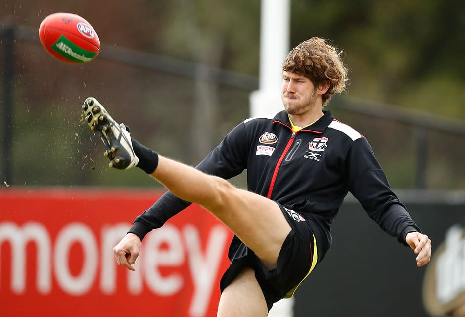 MELBOURNE, AUSTRALIA - JULY 25: Tom Hickey of the Saints in action during the St Kilda Saints training session at the Linen House Centre on July 25, 2017 in Melbourne, Australia. (Photo by Michael Willson/AFL Media)
