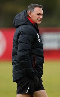 Alan Richardson looks on at training during the week.