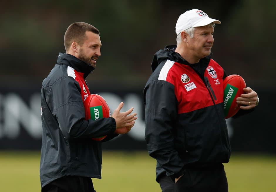 MELBOURNE, AUSTRALIA - JULY 25: Jarryn Geary (left) and Danny Frawley, Specialist Defence Coach of the Saints looks on during the St Kilda Saints training session at the Linen House Centre on July 25, 2017 in Melbourne, Australia. (Photo by Michael Willson/AFL Media)