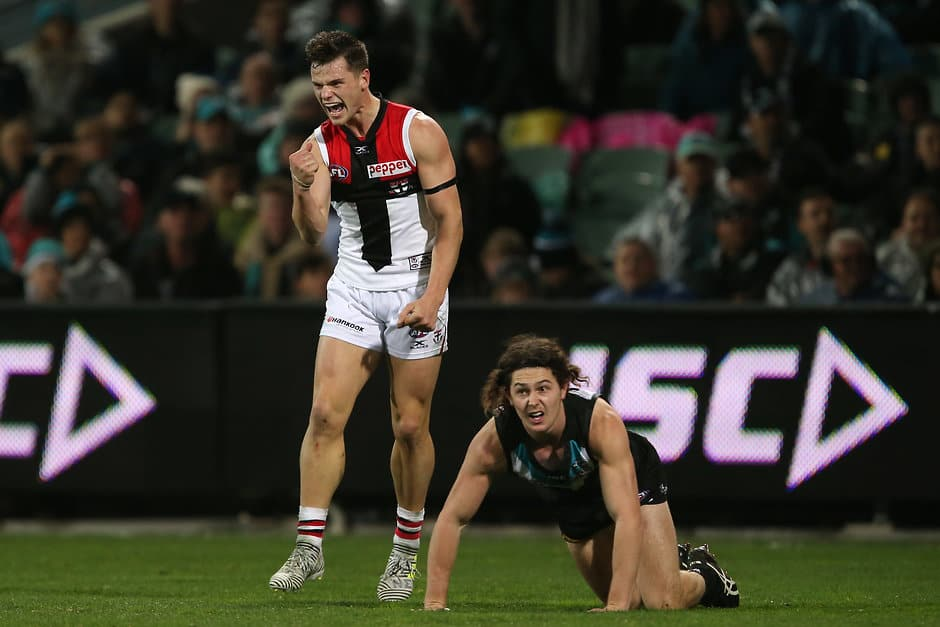 ADELAIDE, AUSTRALIA - JULY 29: Jack Sinclair of the Saints celebrates a goal during the 2017 AFL round 19 match between the Port Adelaide Power and the St Kilda Saints at Adelaide Oval on July 29, 2017 in Adelaide, Australia. (Photo by James Elsby/AFL Media)