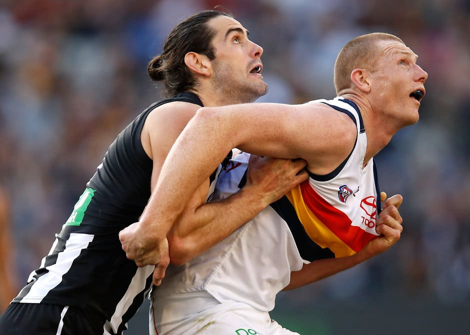 Grundy and Jacobs will do battle out of the centre circle on Saturday - Collingwood Magpies,Adelaide Crows