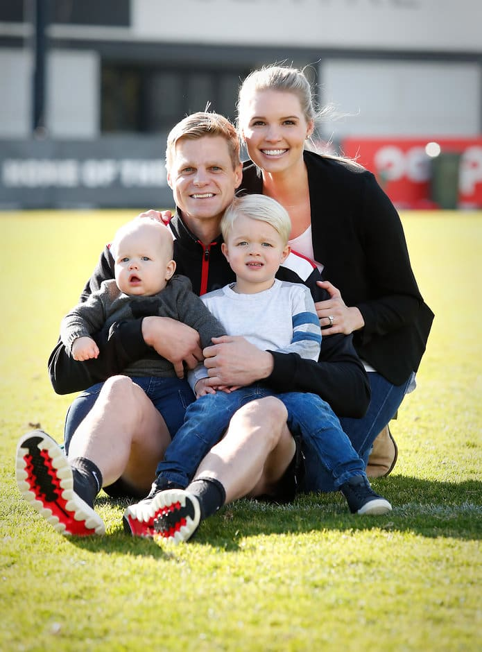 MELBOURNE, AUSTRALIA - JULY 31: Nick Riewoldt of the Saints poses for a photo with his wife Catherine and children James (3yo) and Will (10 months) during a press conference to announce his retirement on July 31, 2017 in Melbourne, Australia. (Photo by Adam Trafford/AFL Media)
