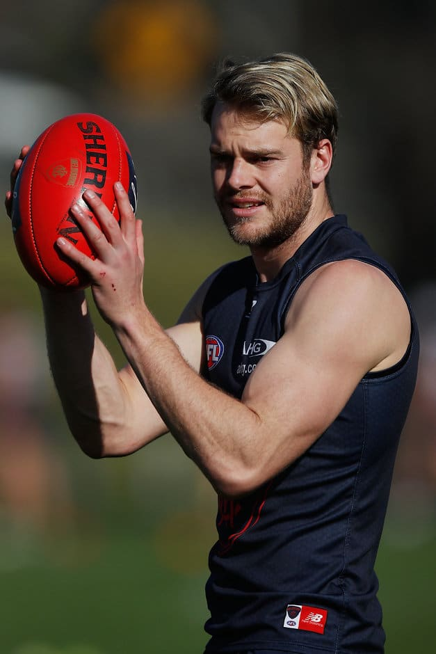 MELBOURNE, AUSTRALIA - AUGUST 01:  Jack Watts of the Demons marks the ball  during a Melbourne Demons AFL training session  at Gosch's Paddock on August 1, 2017 in Melbourne, Australia.  (Photo by Michael Dodge/Getty Images/AFL Media)