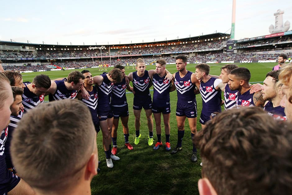 PERTH, AUSTRALIA - AUGUST 05: Nat Fyfe of the Dockers speaks to the huddle at the start of the game during the 2017 AFL round 20 match between the Fremantle Dockers and the Gold Coast Suns at Domain Stadium on August 05, 2017 in Perth, Australia. (Photo by Will Russell/AFL Media)