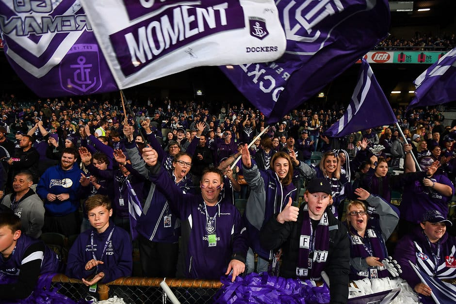 PERTH, AUSTRALIA - AUGUST 05: Fremantle fans celebrate the win during the 2017 AFL round 20 match between the Fremantle Dockers and the Gold Coast Suns at Domain Stadium on August 05, 2017 in Perth, Australia. (Photo by Daniel Carson/AFL Media)