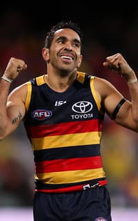 ADELAIDE, AUSTRALIA - AUGUST 06: Eddie Betts of the Crows celebrates a goal during the 2017 AFL round 20 match between the Adelaide Crows and the Port Adelaide Power at Adelaide Oval on August 06, 2017 in Adelaide, Australia. (Photo by AFL Media)