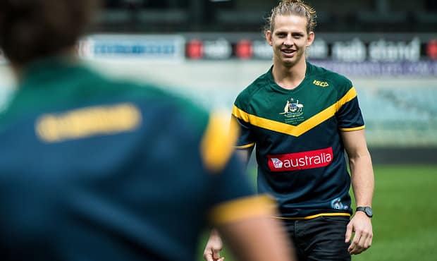Nat Fyfe missed the 2014 series after injury his shoulder in a warm-up match in Sydney.