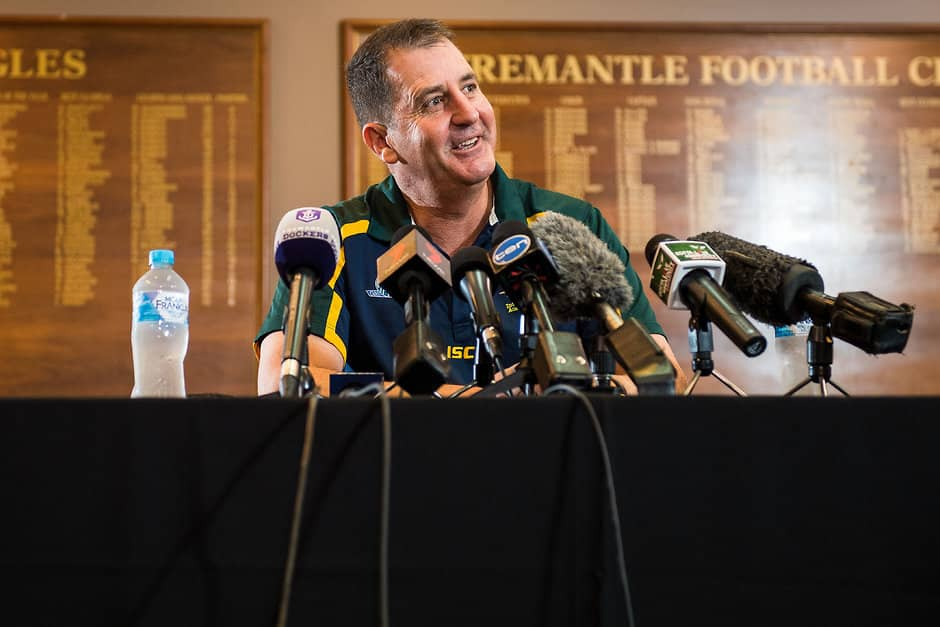 PERTH, AUSTRALIA - AUGUST 08: Ross Lyon, coach of the Dockers and Australian assistant coach takes questions from the the floor during the media conference to confirm match dates in Adelaide and Perth respectively for the two-test Virgin Australia International Rules Series later this year, at Domain Stadium on August 08, 2017, in Perth, Australia. (Photo by Daniel Carson/AFL Media)