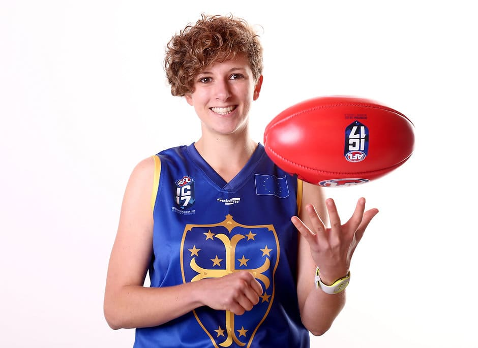 MELBOURNE, AUSTRALIA - AUGUST 03: Coline Duquet of the European Crusaders poses during the the 2017 AFL International Cup portrait session on August 03, 2017, in Melbourne, Australia. (Photo by Rob Prezioso/AFL Media)