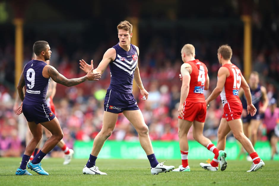 SYDNEY, AUSTRALIA - AUGUST 12:  Matt Taberner of the Dockers celebrates kicking a goal during the round 21 AFL match between the Sydney Swans and the Fremantle Dockers at Sydney Cricket Ground on August 12, 2017 in Sydney, Australia.  (Photo by Cameron Spencer/Getty Images/AFL Media)