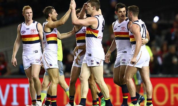 Josh Jenkins celebrates during Adelaide's 43-point win over Essendon on Saturday night