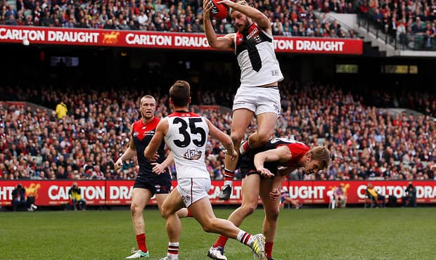 Star forward Josh Bruce takes a hanger against Melbourne in Round 21 last year.