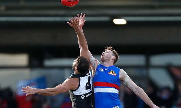 BALLARAT, AUSTRALIA - AUGUST 19: Jordan Roughead of the Bulldogs and Paddy Ryder of the Power compete in a ruck contest during the 2017 AFL round 22 match between the Western Bulldogs and the Port Adelaide Power at Mars Stadium on August 19, 2017 in Ballarat, Australia. (Photo by Michael Willson/AFL Media)