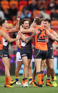 The Giants celebrate Nathan Wilson's long bomb