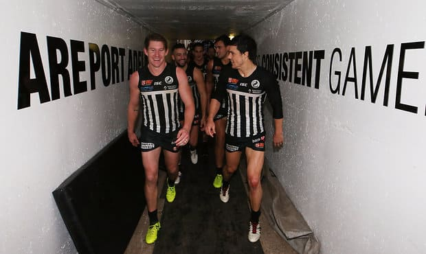 ADELAIDE, AUSTRALIA - AUGUST 20: Matthew White and Angus Monfries of the Magpies celebrate their win during the 2017 SANFL round 17 match between the Port Adelaide Magpies and the Norwood Redlegs at Alberton Oval on August 20, 2017 in Adelaide, Australia. (Photo by James Elsby/AFL Media)