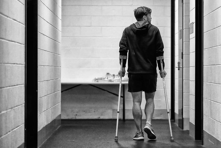 Jack Viney after injuring his ankle in round 21 - AFL,Melbourne Demons,Jack Viney,Injuries,Troy Chaplin