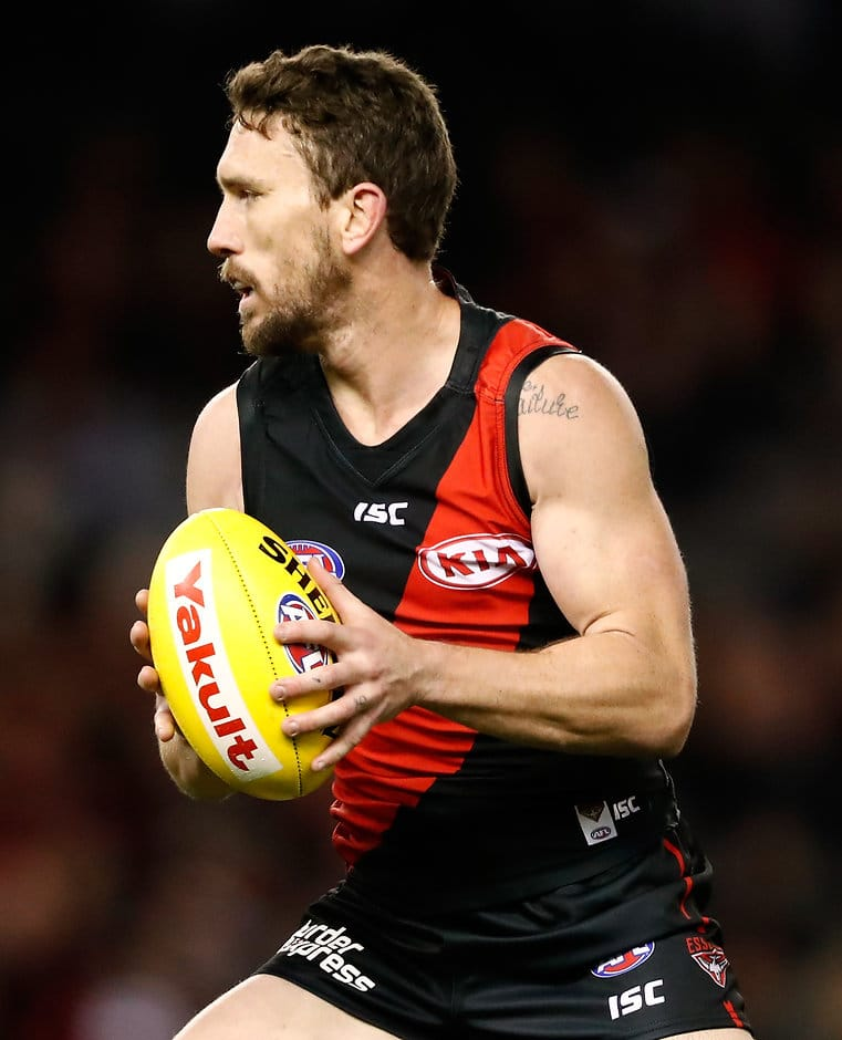 MELBOURNE, AUSTRALIA - AUGUST 27: Heath Hocking of the Bombers in action during the 2017 AFL round 23 match between the Essendon Bombers and the Fremantle Dockers at Etihad Stadium on August 27, 2017 in Melbourne, Australia. (Photo by Adam Trafford/AFL Media)