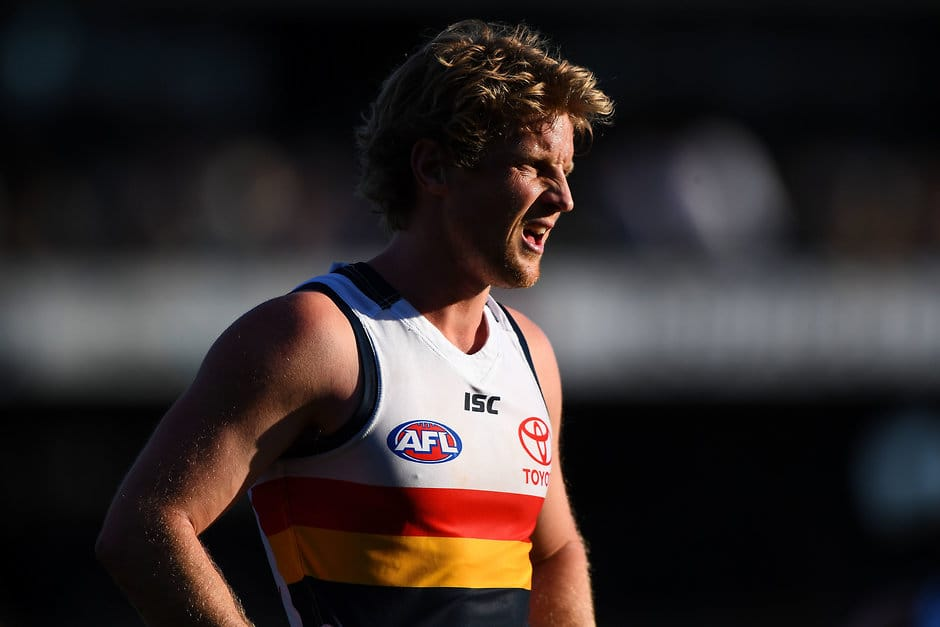 PERTH, AUSTRALIA - AUGUST 27: Rory Sloane of the Crows looks on during the 2017 AFL round 23 match between the West Coast Eagles and the Adelaide Crows at Domain Stadium on August 27, 2017 in Perth, Australia. (Photo by Daniel Carson/AFL Media)