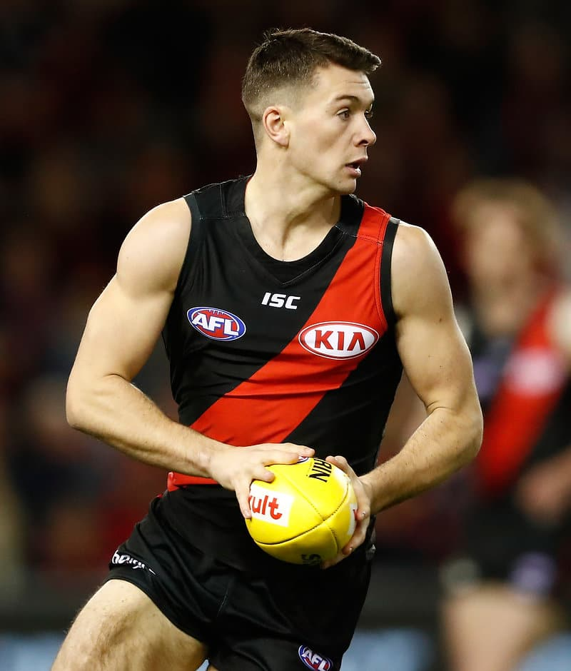 MELBOURNE, AUSTRALIA - AUGUST 27: Conor McKenna of the Bombers in action during the 2017 AFL round 23 match between the Essendon Bombers and the Fremantle Dockers at Etihad Stadium on August 27, 2017 in Melbourne, Australia. (Photo by Adam Trafford/AFL Media)