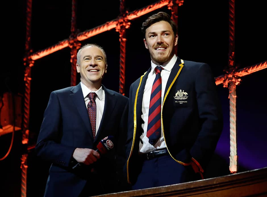 Gerard Whateley with Demon Michael Hibberd at the 2017 All Australian awards - AFL