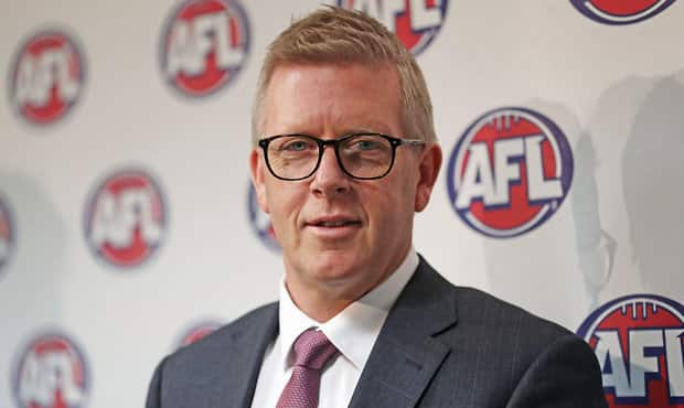 MELBOURNE, AUSTRALIA - AUGUST 31:  AFL General Manager Football Operations Steven Hocking addresses the media after Steve Hocking was announced as the new AFL General Manager of Football Operations at AFL House on August 31, 2017 in Melbourne, Australia. (Photo by Scott Barbour/AFL Media)