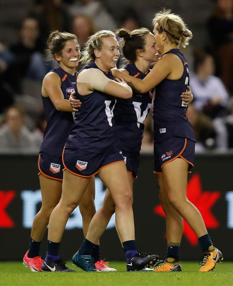Lauren Arnell and Daisy Pearce celebrate a goal in Victoria's big AFLW win over the Allies - AFLW,State of Origin