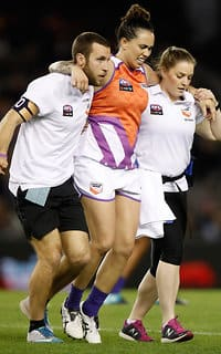 Kirby Bentley leaves the field during the 2017 AFLW State of Origin.