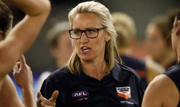 MELBOURNE, AUSTRALIA - SEPTEMBER 2: Debbie Lee, Coach of Victoria addresses her players during the 2017 AFLW State of Origin match between Victoria and the Allies at Etihad Stadium on September 2, 2017 in Melbourne, Australia. (Photo by Michael Willson/AFL Media) - Western Bulldogs