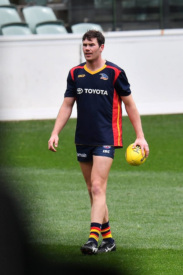 ADELAIDE, AUSTRALIA - SEPTEMBER 06:  Mitch McGovern of the Crows looks on during an Adelaide Crows training session an Adelaide Crows AFL media opportunity at Adelaide Oval on September 6, 2017 in Adelaide, Australia.  (Photo by Daniel Kalisz/Getty Images/AFL Media)