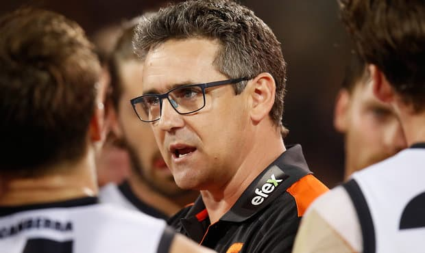 Greater Western Sydney coach Leon Cameron addresses his team during Thursday night's clash with Adelaide - Leon Cameron,Adelaide Crows,GWS Giants,Adelaide Oval